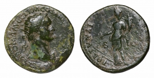 Domitian. 81-96 AD. AE Dupondius. O:\ Radiate head to right. R:\ FORTVNA AVGVSTI SC; fortune standin