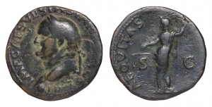 Vespasian. 69-79 AD. AE As. O:\ IMP CAESAR VESP AVG COS VII; head to left. R:\ AEQVITAS AVGVST; Aequ