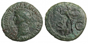Claudius. 41-54 AD. AE As. O:\ TI CLAVDIVS CAESAR AVG PM TR P IMP PP; head to left. R:\ SC; Minerva