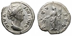 Diva Faustina I AR Denarius. 3,3 gr. – 18,9 mm. O:\ DIVA FAVSTINA, draped bust left. R:\ AVGVSTA, Ce
