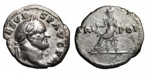 Vespasian (AD 69-79). AR denarius. Rome, AD 70-71. 3,4 gr. – 18,6 mm. O:\ IMP  CAES VESP AVG P M, la
