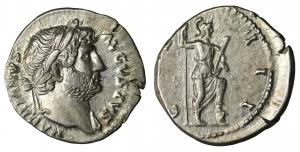 Hadrian. Denarius. 125-128 AD. 3.35 gr. - 18.1 mm. O:\ HADRIANVS AVGVSTVS, laureate head right. R:\