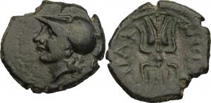 Sicily. Syracuse.   AE 15mm., 310-304 BC. Obv. Head of Athena left. Rev. ΣΥPAK/OΣΙΩΝ. Winged thunder