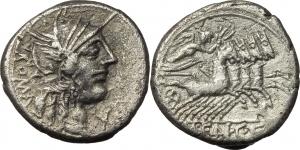 M. Fannius C. f.  AR Denarius, 123 BC. Obv. Head of Roma right, X below chin, ROMA behind. Rev. Vict