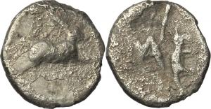 Sicily. Messana.   AR Litra, 425-396 BC. Obv. Hare springing right. Rev. ME. Cf. SNG ANS 321 var. AR