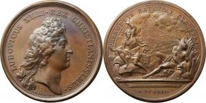 Francia. Luigi XIV (1643-1715). Medaglia 1672.  D/ LUDOVICUS XIIII REX CHRISTIANISSIMUS. Busto a des