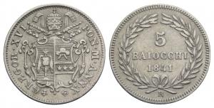 Roma. Gregorio XVI (1831-1846). 5 baiocchi 1841 A. X, 1 ribattuto su 0. RARE