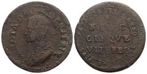 Viterbo. Pio VI (1775-1799). Madonnina da 5 Baiocchi 1797