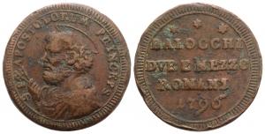 Stato Pontificio. Pio VI (1775-1799). Sampietrino da 2,5 baiocchi 1796.