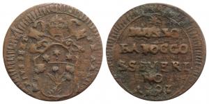 San Severino. Pio VI (1775-1799). AE Mezzo baiocco 1797. M. 414 RARE