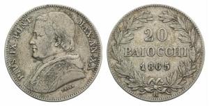 Roma. Pio IX (1846-1878). 20 baiocchi 1865 AN XX