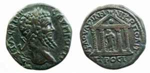 Provincia Romana. Nicolpolis a Istros. Settimio Severo. 193-211 d.C. Asse. Ae. D/ Testa laureata a d