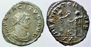 Impero Romano. Tacito. 275-276 d.C. Antoniniano. Ae. Lione. D/ IMP CL TACITVS AVG Busto radiato vers
