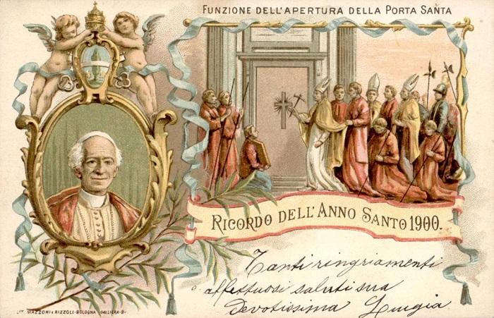 Cartolina ricordo per l'apertura della Porta Santa durante il Giubileo dell'anno 1900 con ritratto di Leone XIII