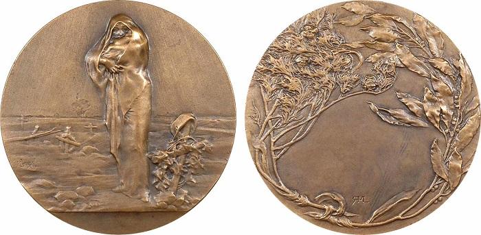 """Medaglia dal titolo """"L'Oeuvre des barbares"""" modellata dalla Lancelot nel 1916 e coniata a Parigi (bronzo, mm 60) per stigmatizzare le morti inutili della Grande guerra"""