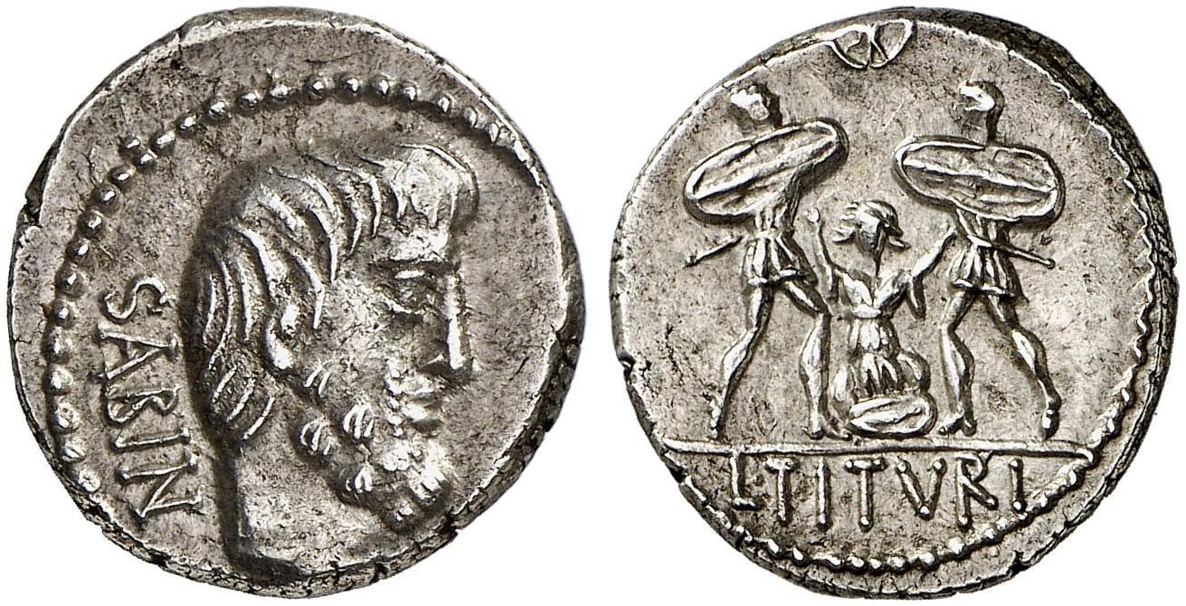 Il celebre denario repubblicano che ricorda il mito di Tarpeia, il cui supplizio è raffigurato al rovescio