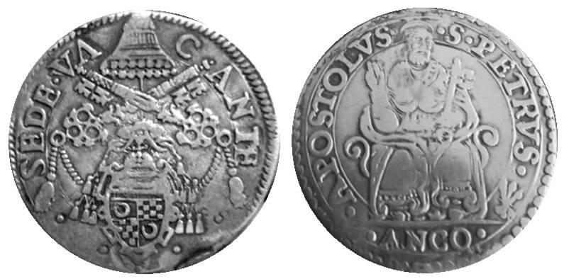 Testone per Ancona di Sede Vacante 1565 con arma Vitelli al dritto (collezione privata)