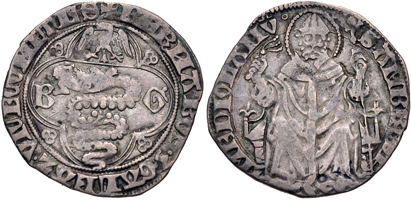 Barnabò Visconti, 1349-1385, con Galeazzo II Visconti: pegione in argento per Milano