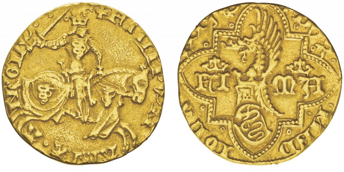 Il biscione e l'uscente sono ovunque, su questo raro fiorino di Filippo Maria Visconti, 1412-1447