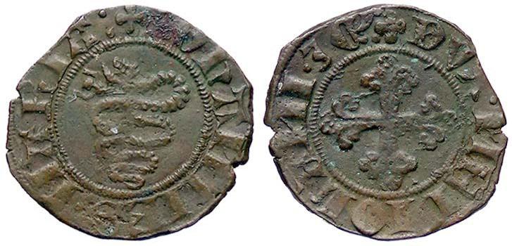 """Lo stemma visconti su uno """"spicciolo"""", il bissolo di Giovanni Maria Visconti, 1402-1412"""